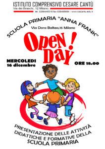 Locandina Open Day 2020 Scuola primaria A. Frank