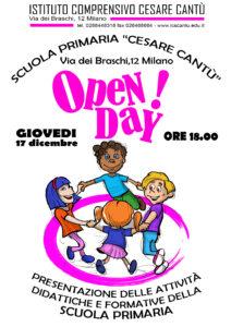 Locandina Open Day 2020 Scuola primaria C. Cantù