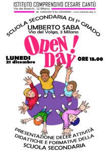 Locandina Open Day 2020 Scuola secondaria di primo grado U. Saba