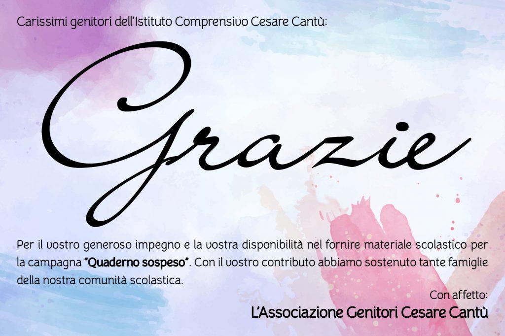 """Grazie da parte dell'Associazione Genitori Cesare Cantù per la partecipazione alla campagna """"Quaderno Sospeso"""""""
